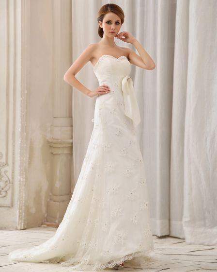 Satin Parlstav Applikationer Axelbandslos Chapel A-line Brudklänningar Bröllopsklänningar