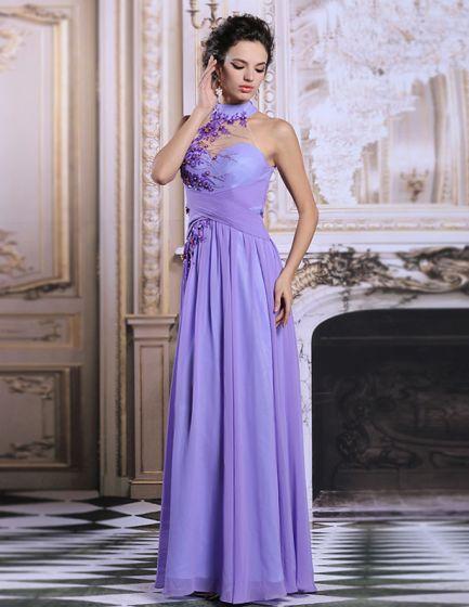2015 Elegant Sleeveless Pierced Purple Long Evening Dress