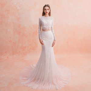 2 Piece Ivory Beach Lace Wedding Dresses 2019 Trumpet / Mermaid Square Neckline Long Sleeve Appliques Lace Court Train Ruffle