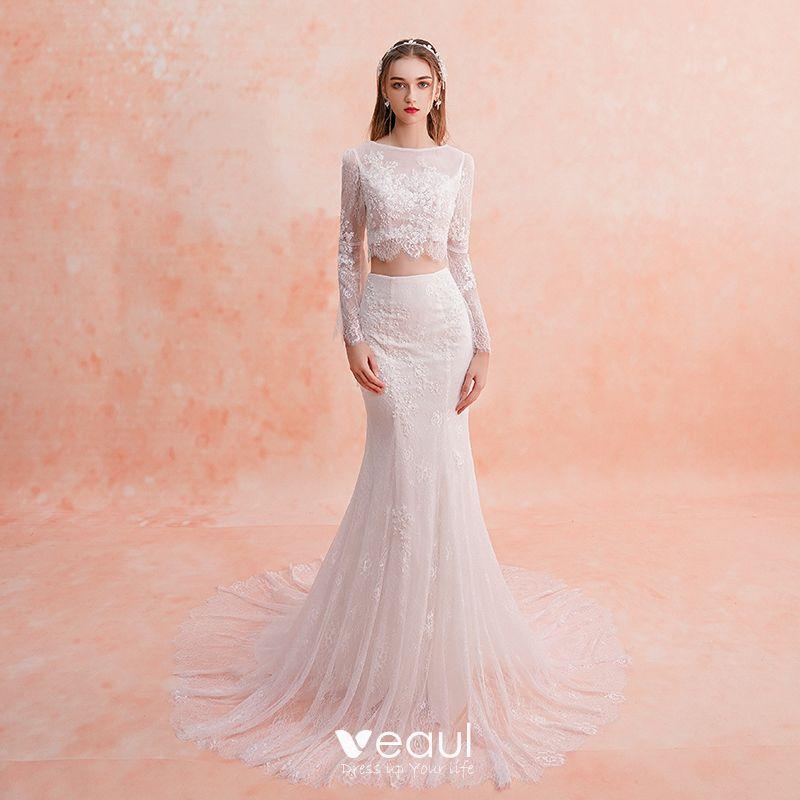 2 Piece Ivory Beach Lace Wedding Dresses 2019 Trumpet Mermaid Square Neckline Long Sleeve Appliques Lace Court Train Ruffle