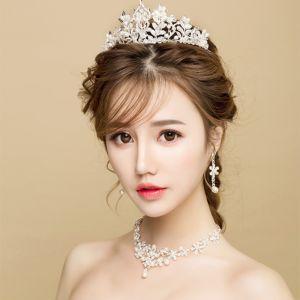 Elegant 2017 Silver Crystal Metal Tiara Bridal Jewelry