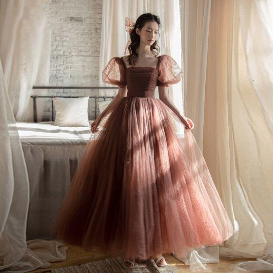 Vintage / Retro Brown Spotted Prom Dresses 2021 A-Line / Princess Square Neckline Bell sleeves Backless Floor-Length / Long Formal Dresses