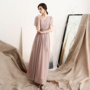 Modest / Simple Blushing Pink Chiffon Evening Dresses  2018 A-Line / Princess V-Neck Short Sleeve Sash Ankle Length Ruffle Backless Formal Dresses