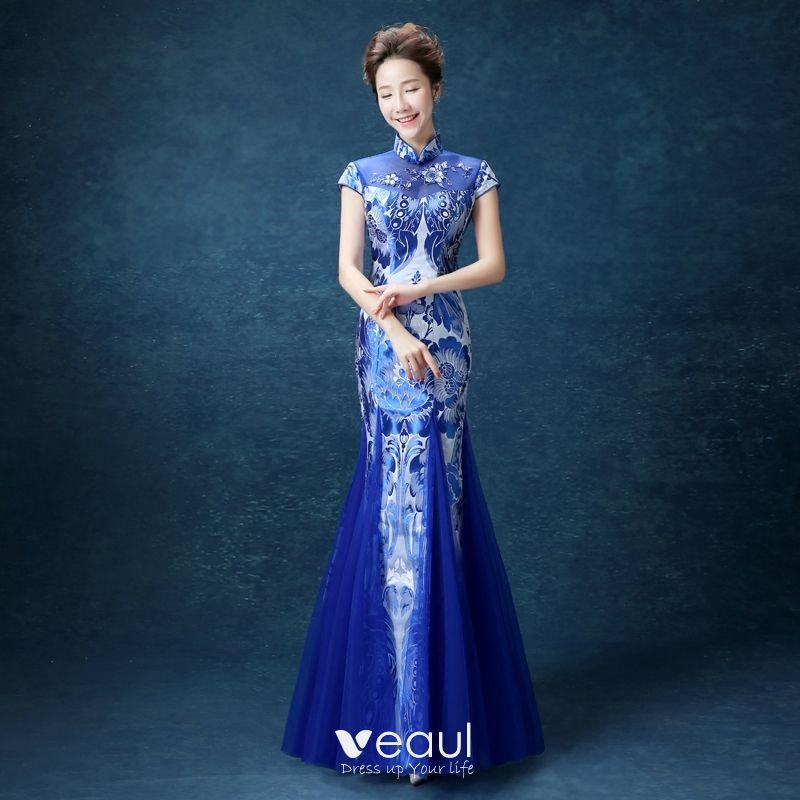 Chinesischer Stil Konigliches Blau Lange Abendkleider 2018 Mermaid Stehkragen Charmeuse Abend Applikationen Drucken Festliche Kleider