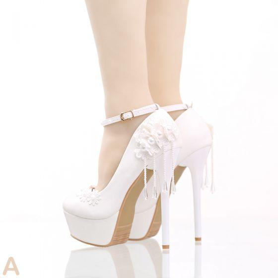 White Casual PU Appliques Pearl High Heels Stiletto Heels 14 cm Pumps Modern / Fashion 2017 Wedding Shoes