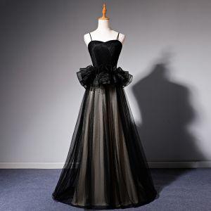 Piękne Czarne Sukienki Na Bal 2019 Princessa Spaghetti Pasy Bez Rękawów Długie Wzburzyć Bez Pleców Sukienki Wizytowe