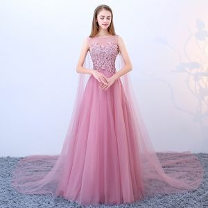 Chic / Beautiful Blushing Pink Prom Dresses 2018 A-Line / Princess Square Neckline Sleeveless Sequins Beading Watteau Train Ruffle Backless Formal Dresses