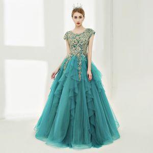 Luxe Robe De Bal 2017 Robe Boule En Dentelle Fleur Perle Paillettes Encolure Dégagée Longue Sans Manches Robe De Ceremonie