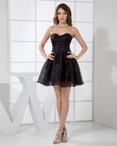 Hasta La Rodilla Escote Palabra De Honor Mujer Mini Organza Con Gradas Poco Vestido De Fiesta Negro