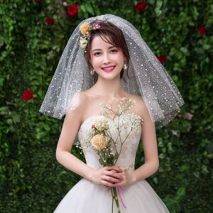 Chic / Beautiful White Wedding Lace Tulle Appliques Short Wedding Veils 2019