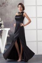 2015 Appealing Unique Crystal Neckline One Shoulder Black Prom Dress
