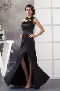 2015 Appealing Unique Crystal Neckline One Shoulder Black Prom Dress