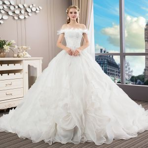 Elegant Ivory Wedding Dresses 2018 Ball Gown Lace Cascading Ruffles Off-The-Shoulder Backless Sleeveless Royal Train Wedding