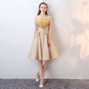 Chic / Beautiful 2017 Gold Cocktail Dresses Strapless Lace Handmade  Appliques A-Line / Princess Cocktail Party Evening Dresses