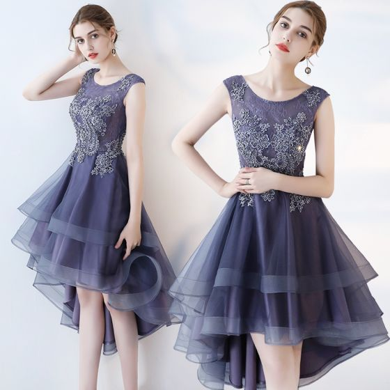 Modern / Fashion Purple Cocktail Dresses 2017 A-Line / Princess Asymmetrical Zipper Up at Side Scoop Neck Sleeveless Lace Appliques Flower Glitter Beading Sequins Pierced Formal Dresses