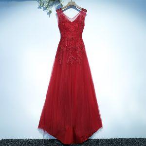 Schöne Rot Festliche Kleider Abendkleider 2017 Spitze Blumen V-Ausschnitt Ärmellos A Linie
