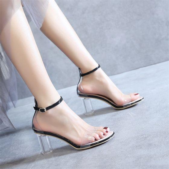 Seksowne Przezroczysty Czarne Koktajlowe Sandały Damskie 2020 Skóry Lakierowanej Z Paskiem 8 cm Grubym Obcasie Peep Toe Sandały