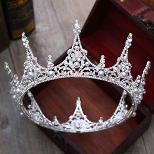 Luxury / Gorgeous Silver Tiara 2018 Metal Pearl Rhinestone Wedding Accessories