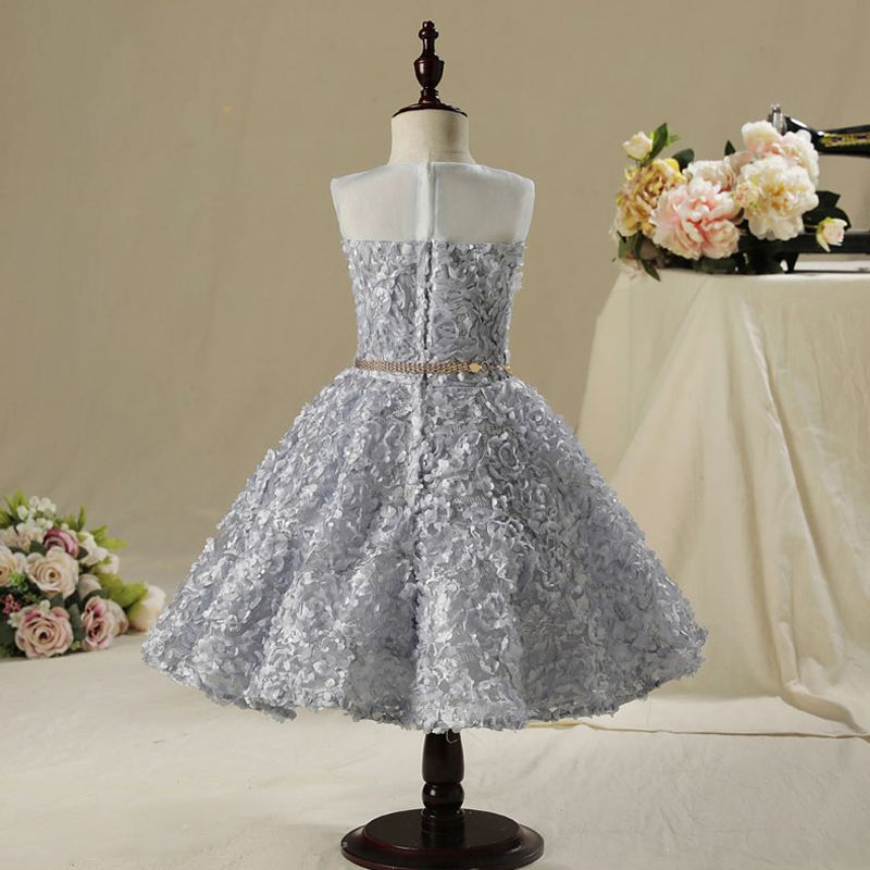 Chic / Beautiful Hall Wedding Party Dresses 2017 Flower Girl Dresses Silver Short A-Line / Princess Scoop Neck Sleeveless Rhinestone Metal Sash Appliques Flower