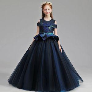 Elegant Navy Blue Glitter Flower Girl Dresses 2019 A-Line / Princess Scoop Neck Short Sleeve Bow Sash Floor-Length / Long Ruffle Wedding Party Dresses