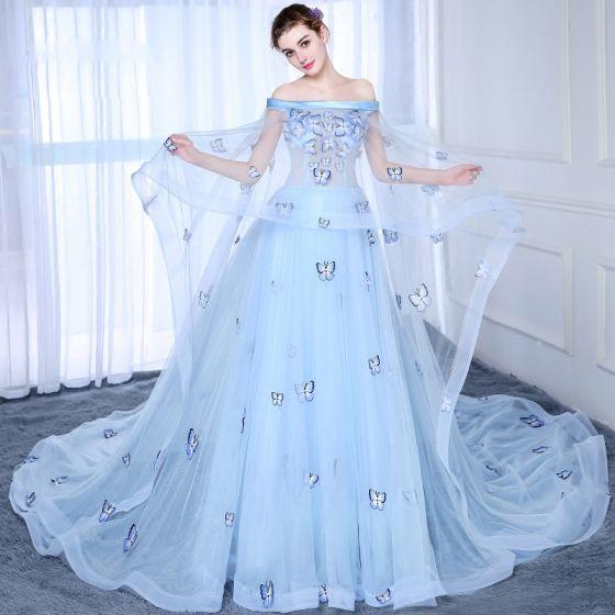 Chic / Belle Bleu Ciel Robe De Bal 2017 Princesse Bustier Dentelle Papillon Appliques Dos Nu Promo Robe De Ceremonie