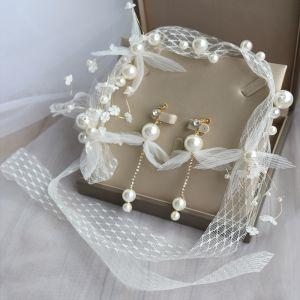 Eleganckie Kość Słoniowa Biżuteria Ślubna 2020 Koronki Kwiat Perła Kolczyki Opaski na głowę Ozdoby Do Włosów Ślubne