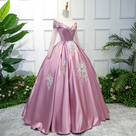 Elegant Candy Pink Prom Dresses 2019 Ball Gown Scoop Neck Lace Flower Long Sleeve Floor-Length / Long Formal Dresses