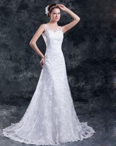 Rüschen V-ausschnitt Bodenlange Mantel Sweep Zug Hochzeitskleid