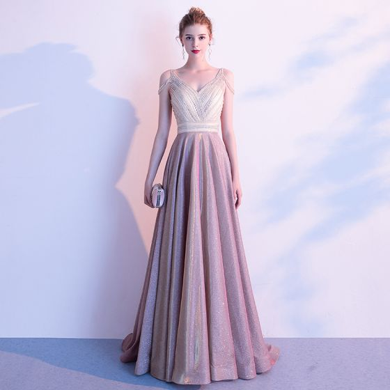 High-end Candy Pink Evening Dresses  2020 A-Line / Princess V-Neck Short Sleeve Glitter Polyester Beading Sweep Train Backless Formal Dresses