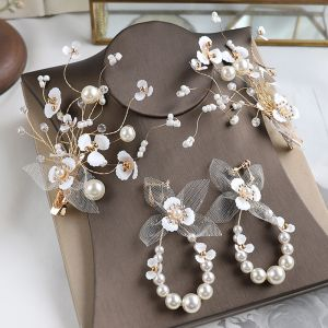 Mooie / Prachtige Goud Haaraccessoires Oorbellen Bruidssieraden 2020 Legering Kralen Parel Huwelijk Accessoires