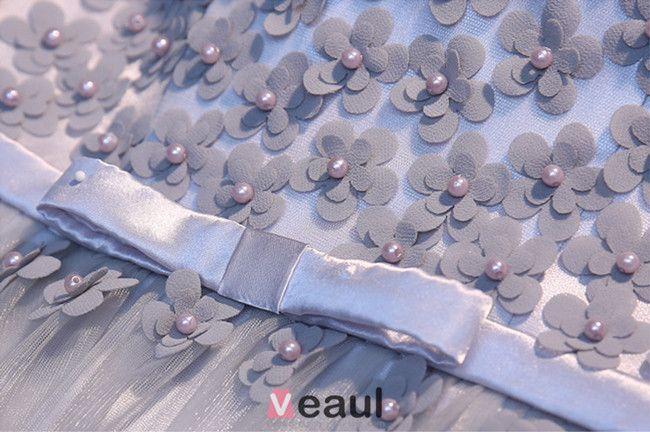 Charmante Grau Festliche Kleider Rückenfreies Lange Abendkleider Mit Blumen Für Das Jahr 2016 Silvester
