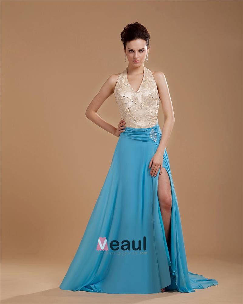 Mousseline De Soie Applique Perles Halter Longueur Fente Robe De Bal