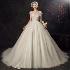 Affordable Ivory See-through Wedding Dresses 2019 Ball Gown Square Neckline Short Sleeve Backless Appliques Lace Chapel Train Ruffle