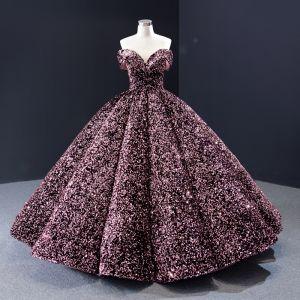 Brillante Rosa Lentejuelas Bailando Vestidos de gala 2020 Ball Gown Fuera Del Hombro Manga Corta Largos Sin Espalda Vestidos Formales