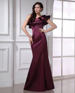 Mode Charmeuse Kräuseln Abfallbodenlange Abendkleid