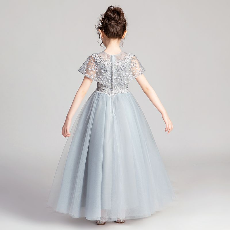 Chic / Beautiful Grey Flower Girl Dresses 2019 A-Line / Princess Scoop Neck Short Sleeve Appliques Lace Beading Pearl Rhinestone Floor-Length / Long Ruffle Wedding Party Dresses