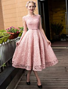 Chic Pink Cocktail Dress Tea Length Lace Party Dress 2017