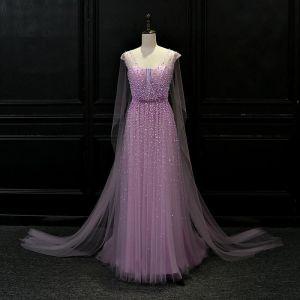 Luxus / Herrlich Lila Durchsichtige Abendkleider 2018 A Linie V-Ausschnitt Perlenstickerei Watteau-falte Rüschen Rückenfreies Festliche Kleider