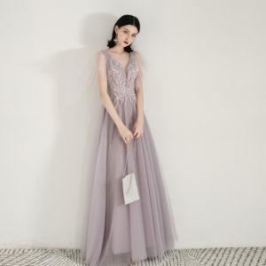 Chic / Beautiful Lavender Evening Dresses  2019 A-Line / Princess V-Neck Beading Sequins Lace Flower Short Sleeve Backless Floor-Length / Long Formal Dresses