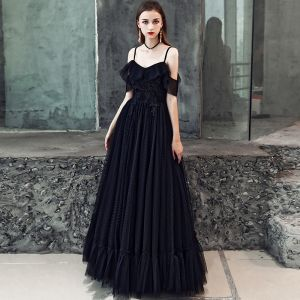 Affordable Black Prom Dresses 2019 A-Line / Princess Spaghetti Straps Short Sleeve Appliques Lace Floor-Length / Long Ruffle Backless Formal Dresses