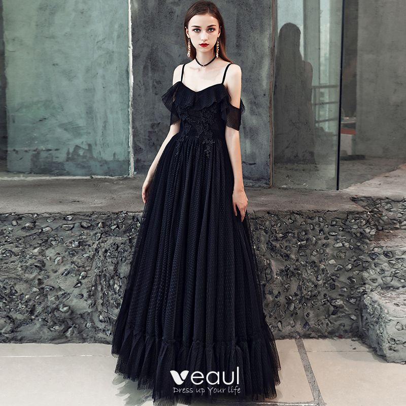 88df40a539fc8 Affordable Black Prom Dresses 2019 A-Line / Princess Spaghetti ...