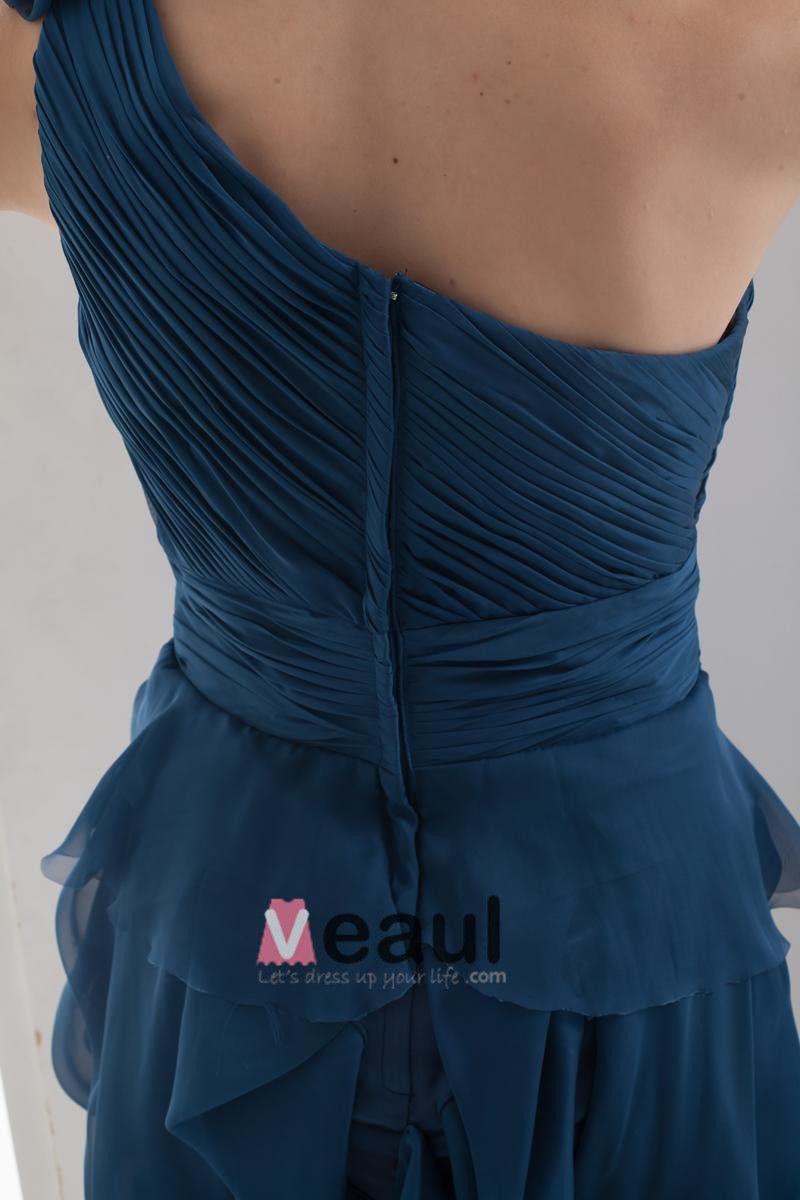 Une Epaule Volants En Mousseline De Soie Mini-femme De Soie Imitation Petite Robe Noire