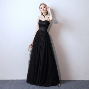 Affordable Black Prom Dresses 2019 A-Line / Princess Spaghetti Straps Sleeveless Floor-Length / Long Ruffle Backless Formal Dresses