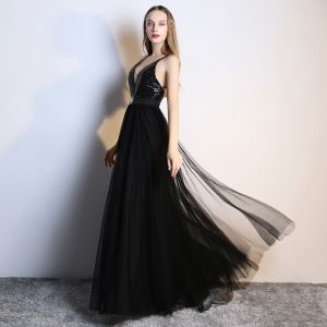 Sexy Black Evening Dresses  2019 A-Line / Princess Rhinestone Sequins V-Neck Sleeveless Plunging Cross-Back Backless Floor-Length / Long Formal Dresses