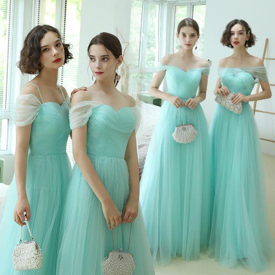 Asequible Verde Lima Vestidos De Damas De Honor 2020 A-Line / Princess Fuera Del Hombro Manga Corta Largos Ruffle Sin Espalda Vestidos para bodas