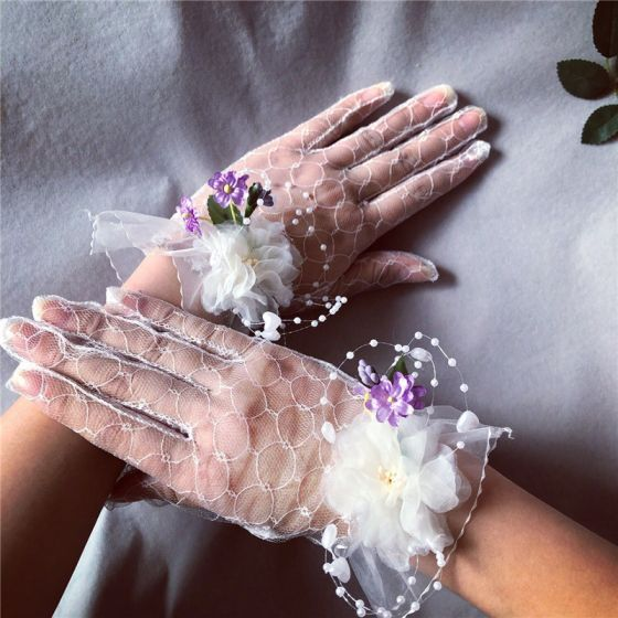Fine Hvit Brudehansker 2020 Appliques Blomst Perle Tyll Ball Bryllup Tilbehør