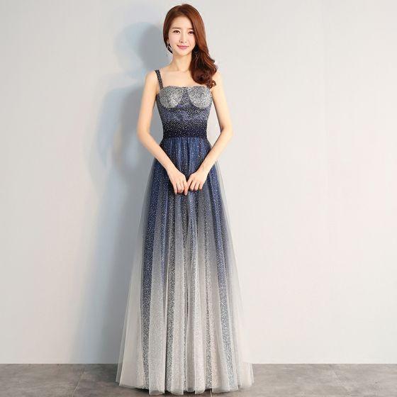 Chic / Belle Bleu Marine Robe De Soirée 2018 Princesse Tulle Dos Nu Perlage Ciel étoilé Paillettes Soirée Robe De Ceremonie