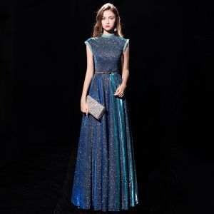 Starry Sky Ink Blue Evening Dresses  2019 A-Line / Princess High Neck Sleeveless Metal Sash Glitter Polyester Floor-Length / Long Ruffle Formal Dresses