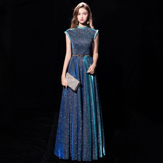 Starry Sky Ink Blue Evening Dresses  2019 A-Line / Princess High Neck Sleeveless Metal Sash Glitter Polyester Floor-Length / Long Ruffle Formal Dresses