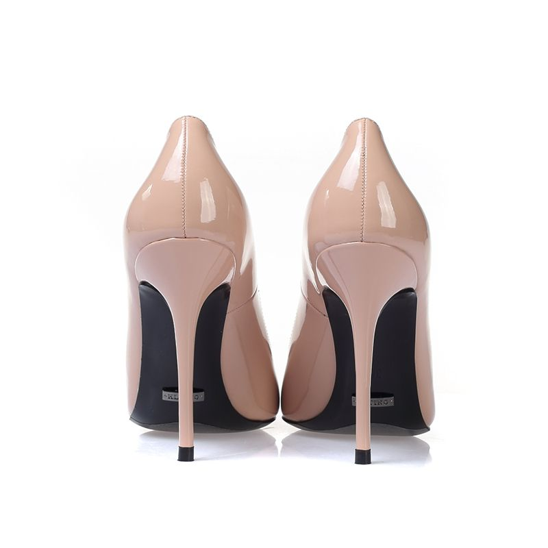 Chic / Beautiful Nude Evening Party Pumps 2019 Patent Leather 10 cm Stiletto Heels Pointed Toe Pumps